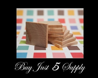 100 Unfinished Wood Squares, Smooth and Ready to Glaze, Paint, Decoupage, Stain, Stamp for Magnets, Art, Jewelry, more...