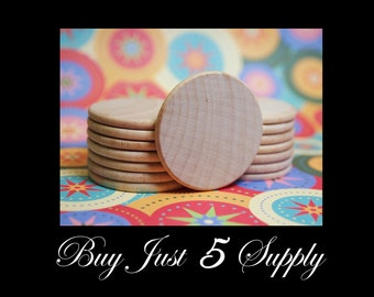 "50 Unfinished Wood Circles..1 1/2"" Discs, Smooth, Beveled and Ready to Glaze, Paint, Decoupage, Stain, Stamp for Magnets, Art, Jewelry"