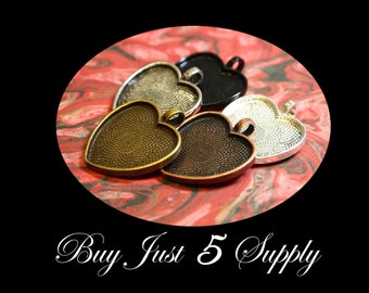 UNDER COST SALE! 50 Heart Pendant Trays - Choose from 5 Colors - Jewelry Pendant, Mosaics, Glass, Beads, Photo, Digital Collage Art