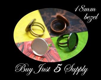 5 Round RING BASES- 3 Colors to Choose from- Mosaics, Glass, Beads, Digital Collage Images, Photos, or your favorite work of art...