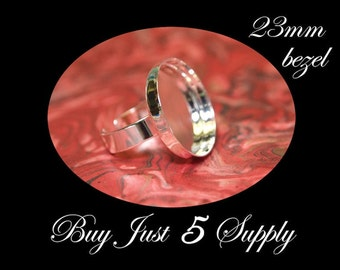 5 Round Shiny Sterling Silver Plated RING BASES- 23mm- Mosaics, Glass, Beads, Digital Collage Art, Photos...