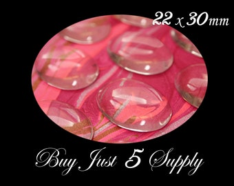 Super SALE 50 Crystal Clear DOME OVAL 22 x 30mm Glass Cabochons... Great for Pendants, Refrigerator Magnets, more