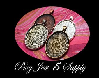 Make A Combo -5 OVAL PENDANT TRAYS - 22 x 30mm- Choose from 4 Colors... Bronze, Copper, Silvers ... Pendants, Keychains, more