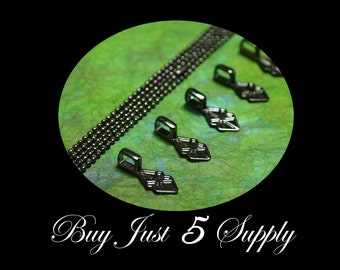 10 GUNMETAL BLACK Bails AND 10 Petite 1.5mm Ball Chains...Great for Fused Glass Pendants - ScrabbleTiles- Glass Tile Pendants...