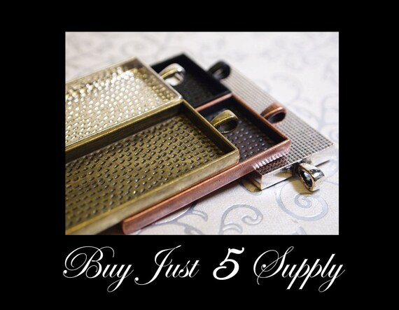 Make A Combo - 25 RECTANGLE Pendant Trays - Choose from 5 Colors - Jewelry Pendant, Mosaics, Glass, Beads, Photo, Digital Collage Art