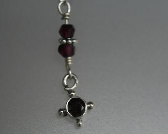 Sterling silver and garnet drop leverback earrings