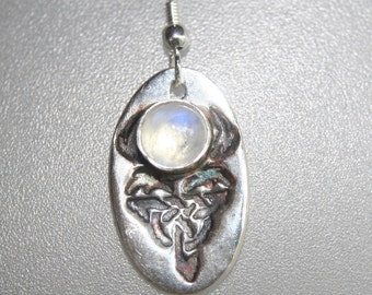 Fine silver rainbow moonstone celtic staff earrings