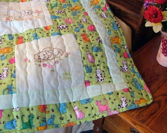 Quilt - Cats and Dogs, Green - Hand Embroidered (68.5in x 90in)