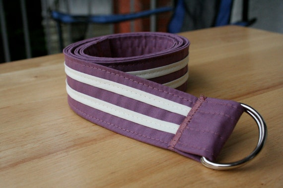 CLEARANCE: Cream Stripes on Dusty Rose Reversible Belt