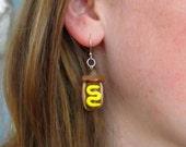 Itty Bitty Mustard Hot Dog Dachshund Earrings