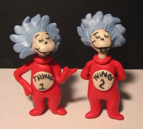 Thing One and Thing Two Sculpture Figures and/or Cake Toppers (Perfect For Twins)