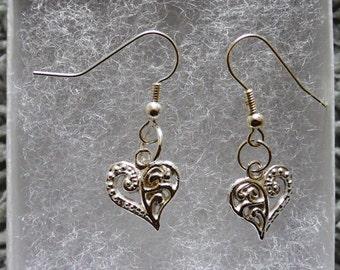 Silver Heart Charn Earrings