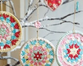 30% OFF SALE  - Three Crocheted Granny Circle Decorations - Crochet Decorations