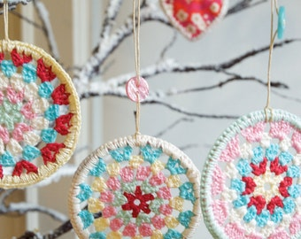 Three Crocheted Granny Circle Decorations - Crochet Decorations- 50% off!