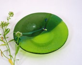 Fused Glass Dish - Chartreuse and Olive Green