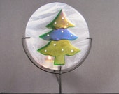 Fused Glass Candle Dish - Christmas Tree in the Snow