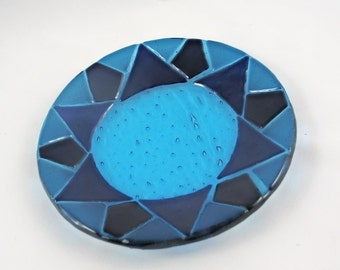Beautiful Blues in a Fused Glass Bowl