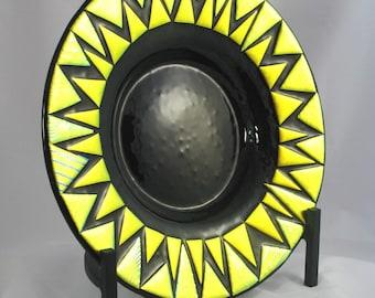 Dichroic Fused Glass Bowl - Golden Yellow Blaze on Black