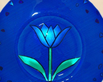 Dichroic Fused Glass Plate - Bright and Blue Tulip