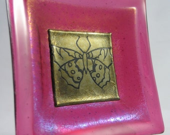 Fused Glass Dish - Cherry Pink and Old Gold - Butterfly Silhouette