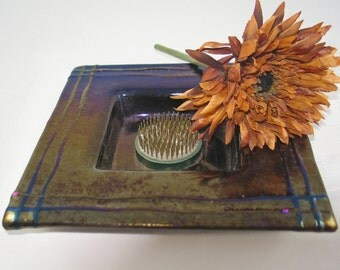 Fused Glass Ikebana - Flower Arranging Dish in Mottled Rainbow Iridized Glass