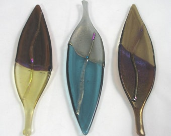 Pick One - Shimmering Fall Leaf - in Fused Glass