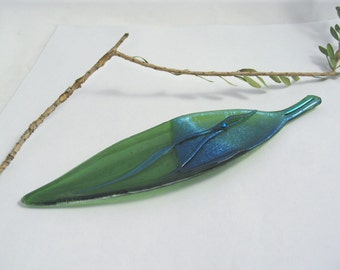 Fused Glass Dish - Shimmering Blue and Olive Green Leaf  Dish