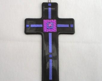 Dichroic Fused Glass Cross - Deep Purple Passion