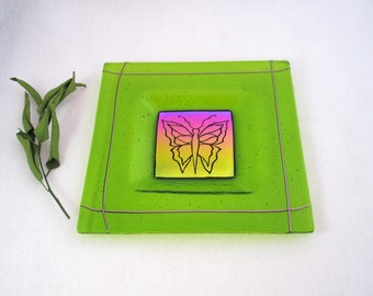 Fused Glass Platter - Hand Etched Butterfly on Rainbow Dichroic Glass
