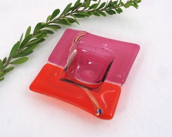 Fused Glass  Dish - Hot Pink and Bright Orange