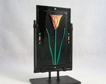 Dichroic Fused Glass Panel - Lotus Flower on Black