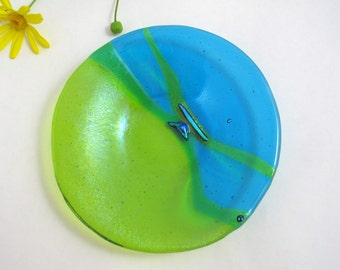 Fused Glass Dish - Caribbean Cool - Turquoise and Lime