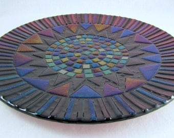Fused Glass Platter - Deepest Plum and Shimmering Iridized Glass