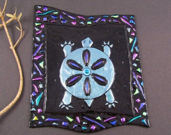 Dichroic Fused Glass Panel - Southwest Turtle with Confetti Border