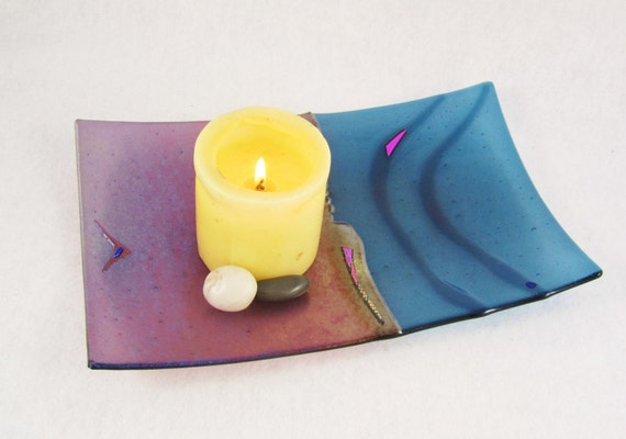 Fused Glass Sushi Dish - Iridized Lavender and Slate Blue with Dichroic Accents