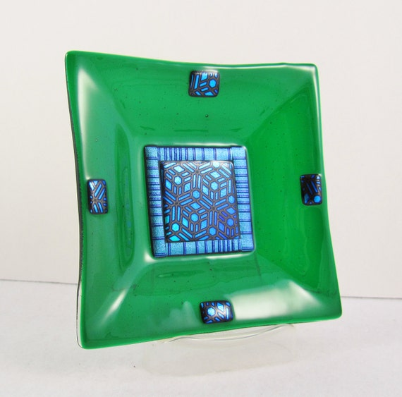 Fused Glass Dish - Emerald Green with Patterned Dichroic Accents