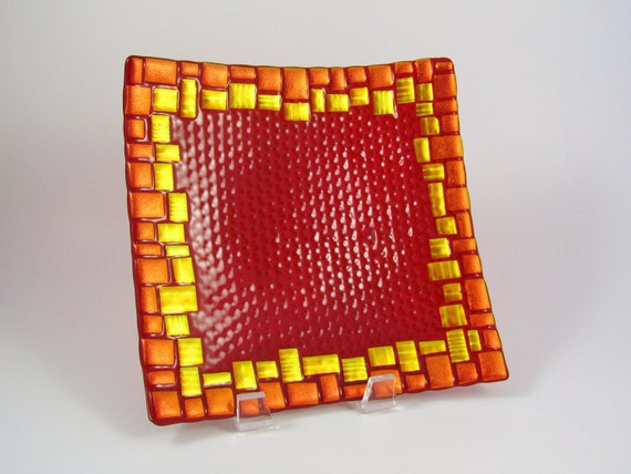 Dichroic Fused Glass Plate - Ruby Red with Bold Gold and Orange Border Tiles