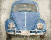 Blue Bug (or CHOOSE your color) - Volkswagen Beetle 1960s 1970s Vintage Style Hippie Car Retro - Original Photograph