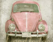 Pink Bug (or CHOOSE your color) - Original Photograph 8x8 or 8x10- Vintage Volkswagen Beetle 1960s 1970s - leedledee