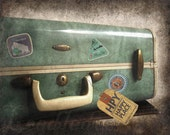 Going to My Happy Place - Vintage Style Original Photo - Sweet Cottage Shabby Chic Samsonite Luggage Textured Distressed Home Decor