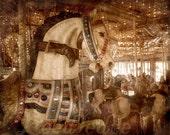 Carousel Horse - Vintage Style Original Photograph - Antique Inspired Carnival Photo Home Decor Sepia Wall Art