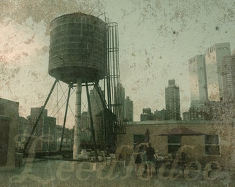 Up On the Rooftop - New York City Original Photograph - Water Tower Urban Grunge Texture Industrial Distressed Home Decor