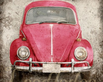 Ruby Red Bug (or CHOOSE your color) - Retro Hippie Volkswagen Beetle Nostalgic 1960s 1970s