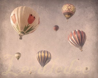 Float into the Clouds - PINK - Whimsical Dreamy Pale Pastel Hot Air Balloons Magical Nostalgic Charming Nursery Girls Room Decor Photo
