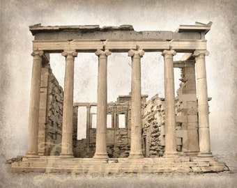 The Parthenon in Greece - Original Photograph - Ancient Greek Classic Architecture Muted Tones Beige Cream Ivory Home Decor Wall Art