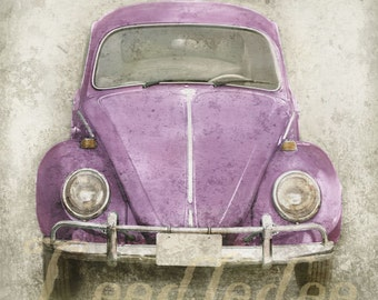 Bellflower Bug (or CHOOSE your color) - Vintage Style Volkswagen Beetle Photo Print - Distressed Home Decor Cottage Style Shabby Chic