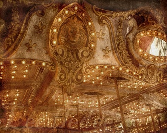 Carousel Face - Old Time Vintage Style Original Photograph 8x10 - Carnival Lights Magical Gold Cream