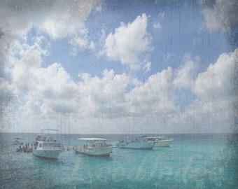 Boats at the Sand Bar - Original Photograph - Coastal Ocean Beach Tropical Caribbean Aqua Blue Cottage Decor