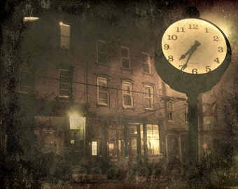 The Clock On Main Street - Old Time Vintage Style Original Photograph - Nighttime Night Dark Textured Small Town Distressed Home Decor