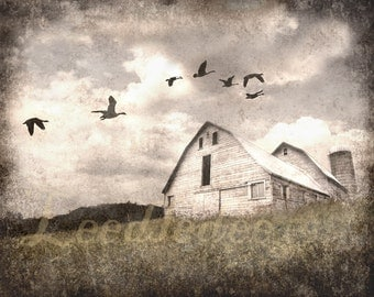 The Old Barn - Textured Vintage Style Original Photograph - Dusty Grey Foggy Farmhouse Rustic Home Decor